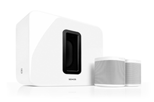 sonos installation set up audio system white sub and speakers